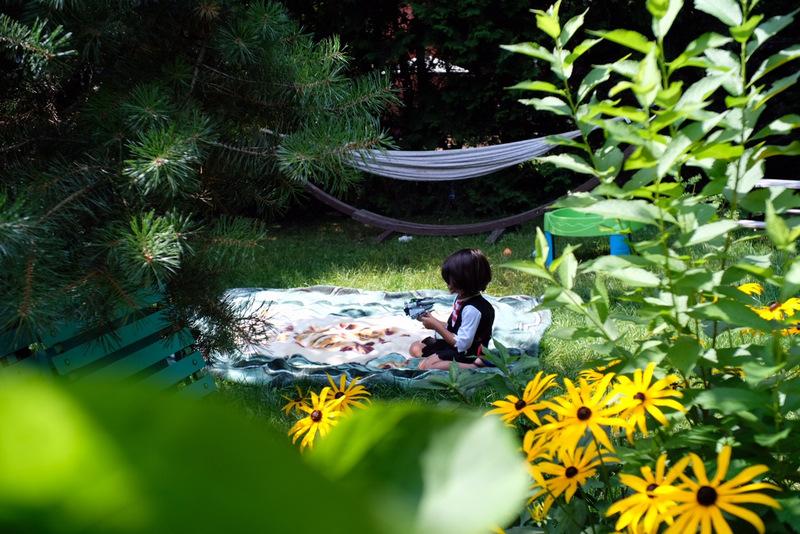 Oscar bawiący się w ogrodzie.